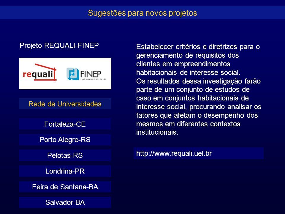 Sugestões para novos projetos Projeto REQUALI-FINEP Fortaleza-CE Estabelecer critérios e diretrizes para o gerenciamento de requisitos dos clientes em