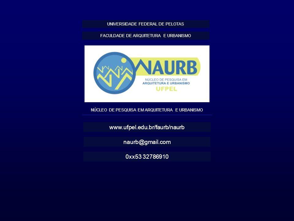NÚCLEO DE PESQUISA EM ARQUITETURA E URBANISMO FACULDADE DE ARQUITETURA E URBANISMO UNIVERSIDADE FEDERAL DE PELOTAS www.ufpel.edu.br/faurb/naurb naurb@