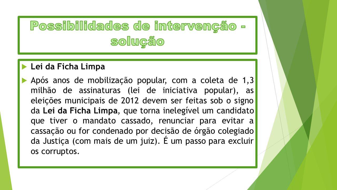  Lei da Ficha Limpa  Após anos de mobilização popular, com a coleta de 1,3 milhão de assinaturas (lei de iniciativa popular), as eleições municipais
