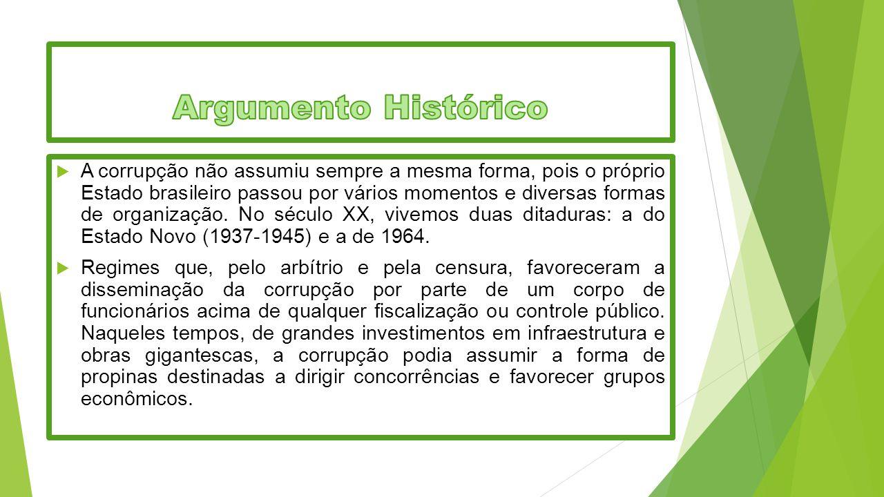  A corrupção não assumiu sempre a mesma forma, pois o próprio Estado brasileiro passou por vários momentos e diversas formas de organização. No sécul