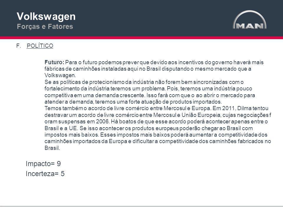 Volkswagen Forças e Fatores F.POLÍTICO Futuro: Para o futuro podemos prever que devido aos incentivos do governo haverá mais fábricas de caminhões instaladas aqui no Brasil disputando o mesmo mercado que a Volkswagen.