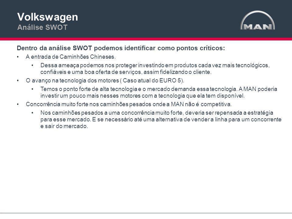 Dentro da análise SWOT podemos identificar como pontos críticos: •A entrada de Caminhões Chineses.
