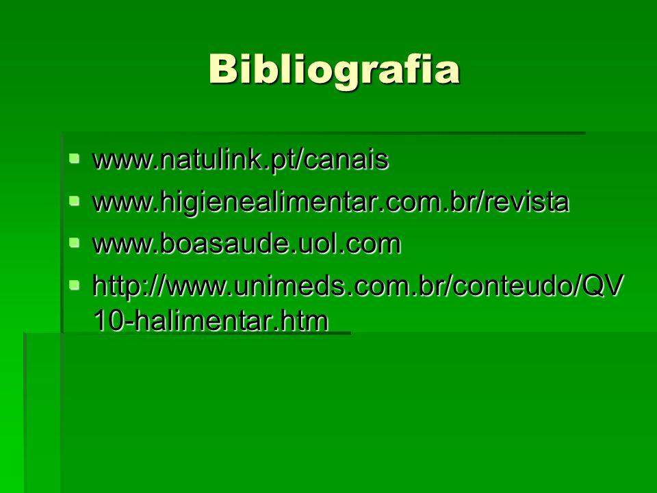 Bibliografia  www.natulink.pt/canais  www.higienealimentar.com.br/revista  www.boasaude.uol.com  http://www.unimeds.com.br/conteudo/QV 10-haliment