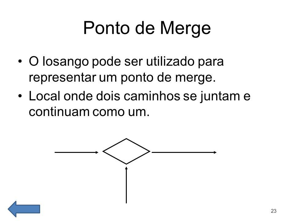 23 Ponto de Merge •O losango pode ser utilizado para representar um ponto de merge. •Local onde dois caminhos se juntam e continuam como um.