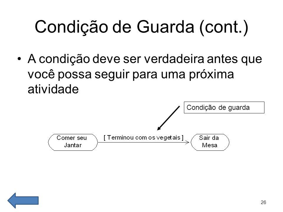 26 Condição de Guarda (cont.) •A condição deve ser verdadeira antes que você possa seguir para uma próxima atividade Condição de guarda