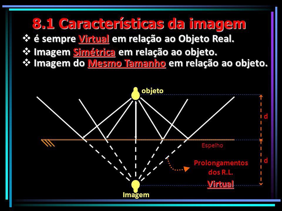 8.1 Características da imagem  é sempre Virtual em relação ao Objeto Real. Para que um observador consiga ver uma imagem refletida pelo espelho é pre