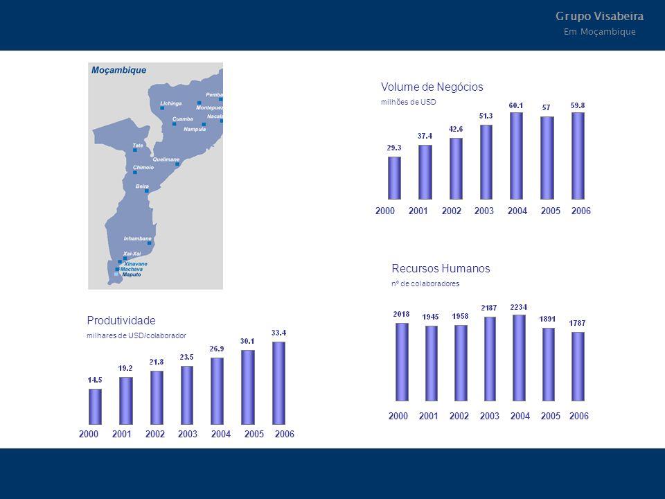 Grupo Visabeira Em Moçambique 2000 2001 2002 2003 2004 2005 2006 Produtividade milhares de USD/colaborador 2000 2001 2002 2003 2004 2005 2006 Volume d