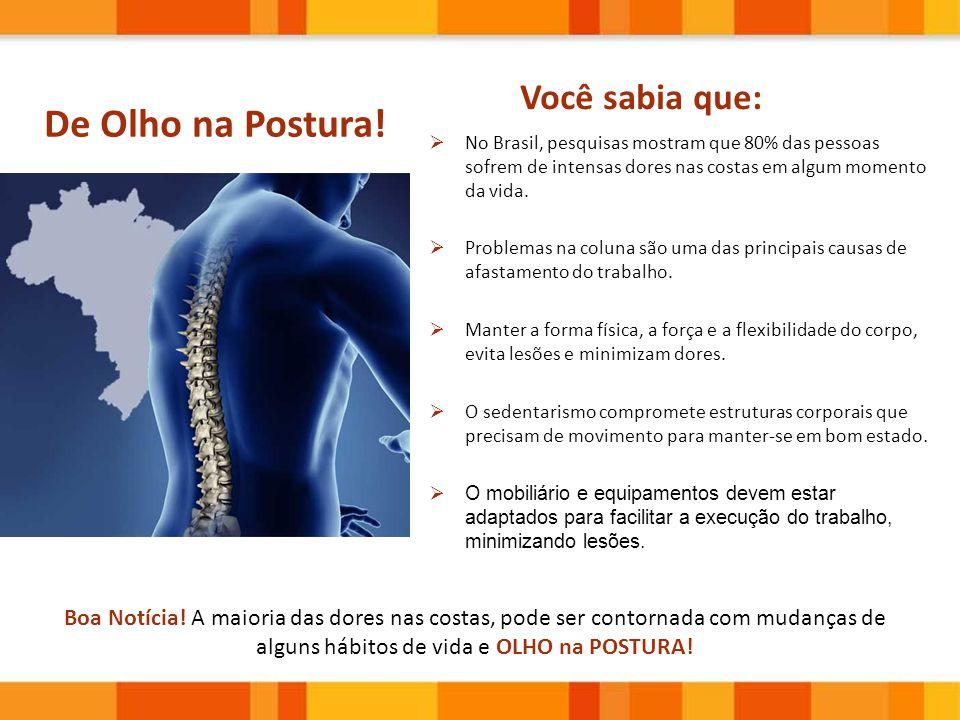 Boa Notícia! A maioria das dores nas costas, pode ser contornada com mudanças de alguns hábitos de vida e OLHO na POSTURA! De Olho na Postura! Você sa