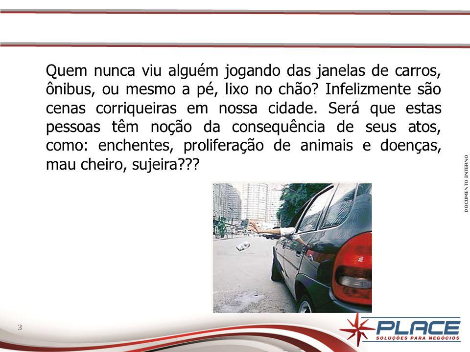 DOCUMENTO INTERNO 3 3 Quem nunca viu alguém jogando das janelas de carros, ônibus, ou mesmo a pé, lixo no chão.