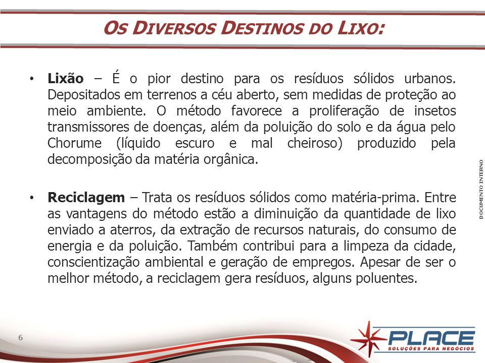 DOCUMENTO INTERNO 6 6 • Lixão – É o pior destino para os resíduos sólidos urbanos.