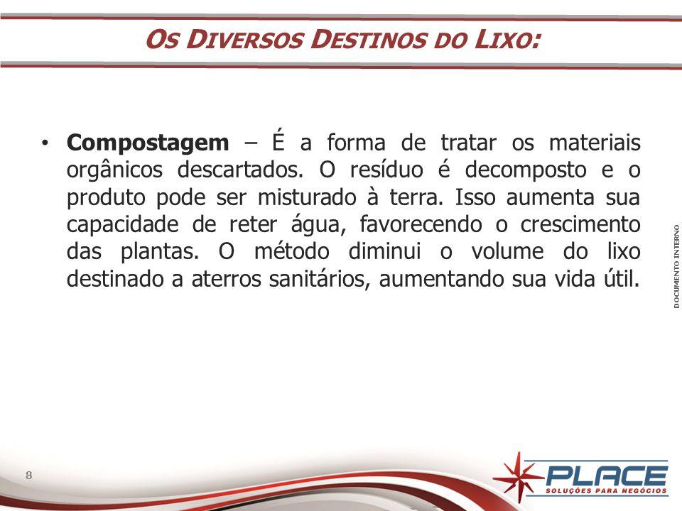 DOCUMENTO INTERNO 8 8 • Compostagem – É a forma de tratar os materiais orgânicos descartados.