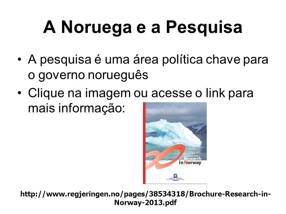 A Noruega e a Pesquisa •A pesquisa é uma área política chave para o governo norueguês •Clique na imagem ou acesse o link para mais informação: http://www.regjeringen.no/pages/38534318/Brochure-Research-in- Norway-2013.pdf