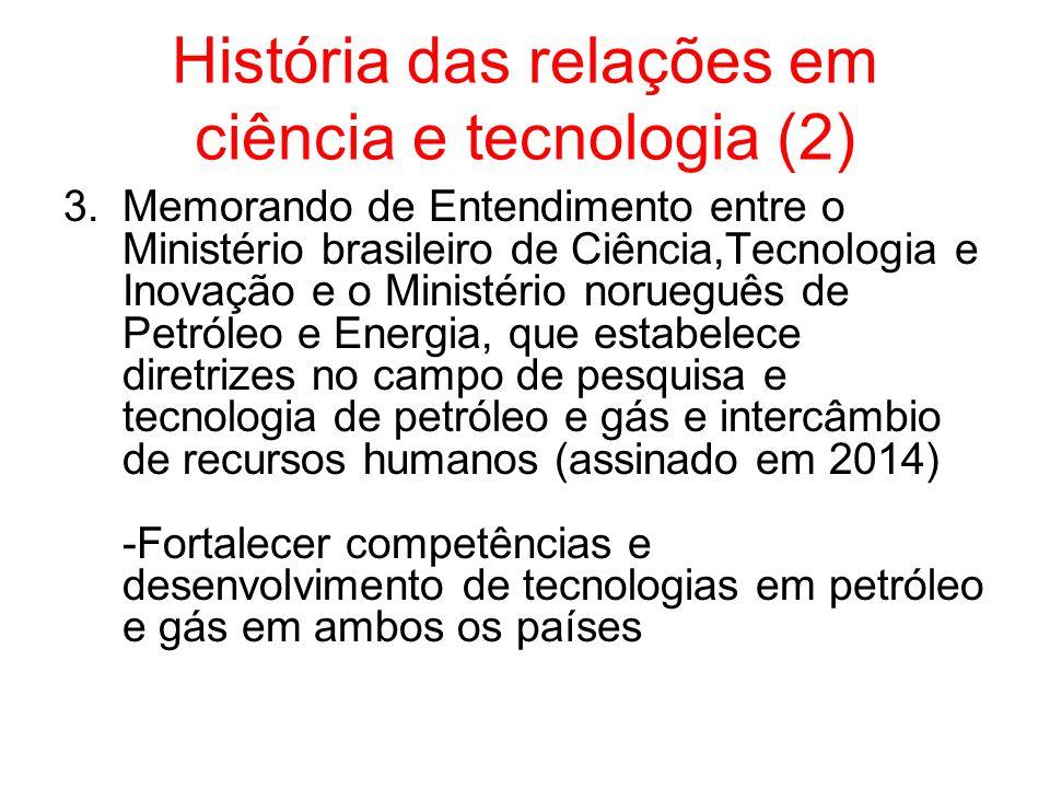 História das relações em ciência e tecnologia (2) 3.Memorando de Entendimento entre o Ministério brasileiro de Ciência,Tecnologia e Inovação e o Ministério norueguês de Petróleo e Energia, que estabelece diretrizes no campo de pesquisa e tecnologia de petróleo e gás e intercâmbio de recursos humanos (assinado em 2014) -Fortalecer competências e desenvolvimento de tecnologias em petróleo e gás em ambos os países