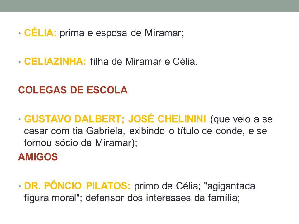 • CÉLIA: prima e esposa de Miramar; • CELIAZINHA: filha de Miramar e Célia. COLEGAS DE ESCOLA • GUSTAVO DALBERT; JOSÉ CHELININI (que veio a se casar c