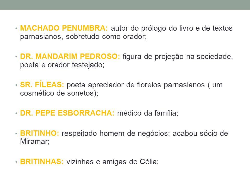 • MACHADO PENUMBRA: autor do prólogo do livro e de textos parnasianos, sobretudo como orador; • DR. MANDARIM PEDROSO: figura de projeção na sociedade,