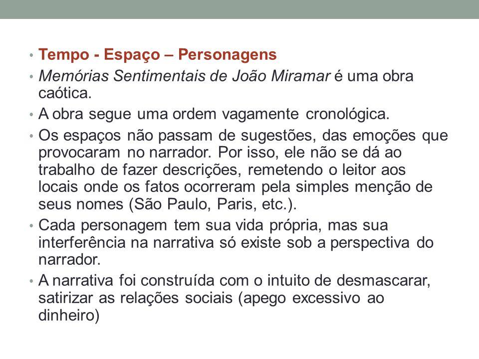 • Tempo - Espaço – Personagens • Memórias Sentimentais de João Miramar é uma obra caótica. • A obra segue uma ordem vagamente cronológica. • Os espaço