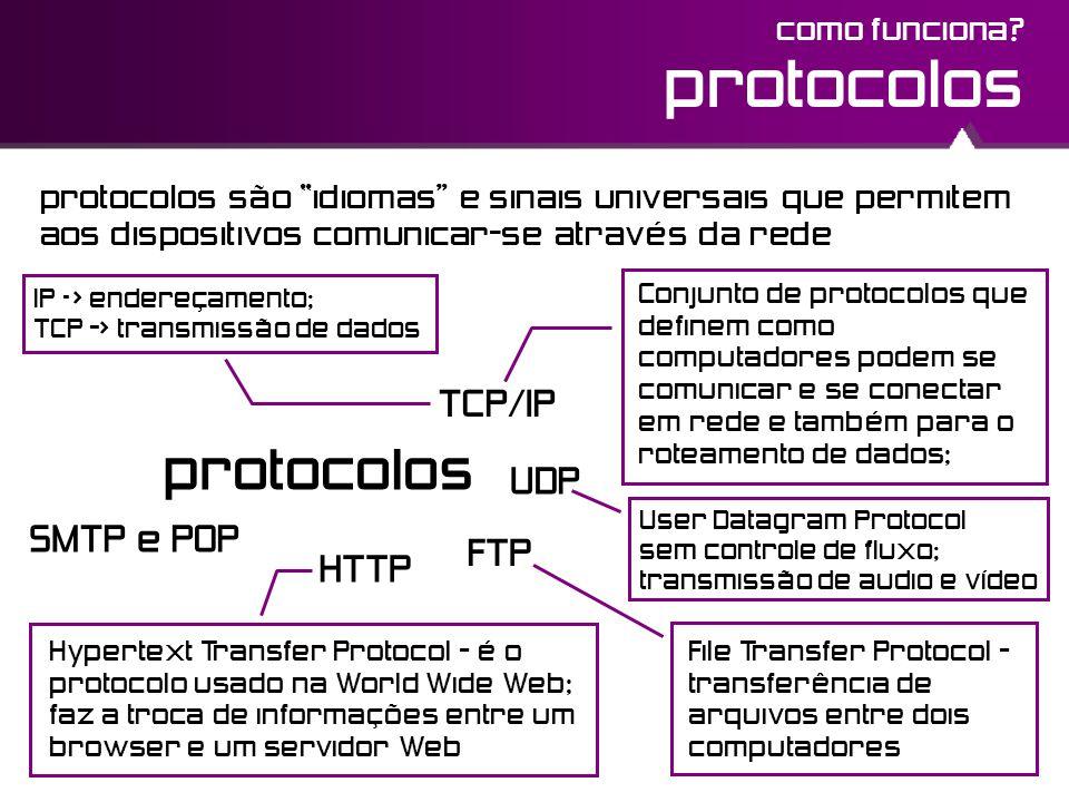 """protocolos HTTP TCP/IP FTP SMTP e POP protocolos como funciona? protocolos são """"idiomas"""" e sinais universais que permitem aos dispositivos comunicar-s"""