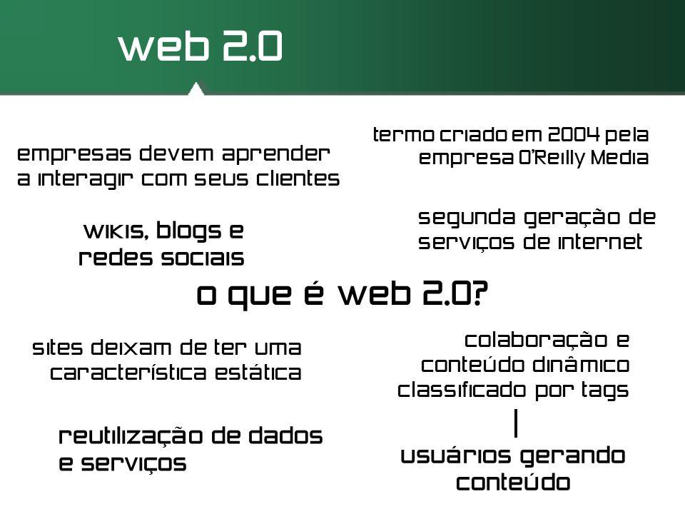 web 2.0 o que é web 2.0? segunda geração de serviços de internet sites deixam de ter uma característica estática colaboração e conteúdo dinâmico class