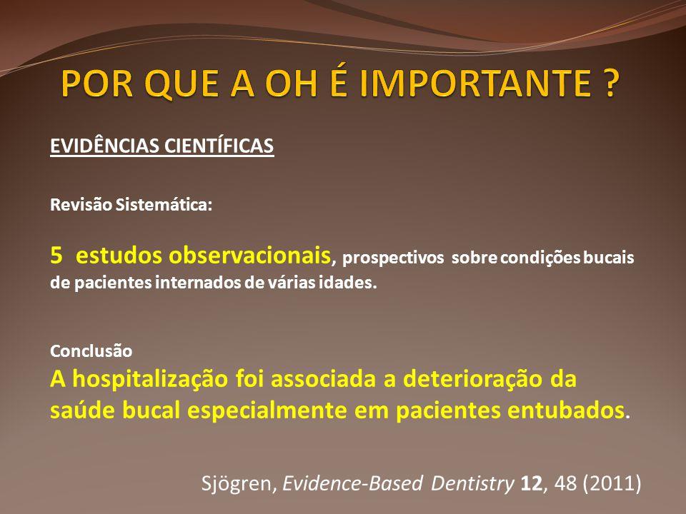 EVIDÊNCIAS CIENTÍFICAS Revisão Sistemática: 5 estudos observacionais, prospectivos sobre condições bucais de pacientes internados de várias idades. Co