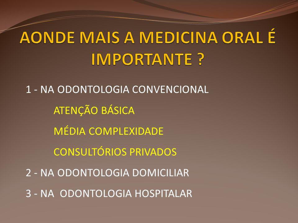 1 - NA ODONTOLOGIA CONVENCIONAL ATENÇÃO BÁSICA MÉDIA COMPLEXIDADE CONSULTÓRIOS PRIVADOS 2 - NA ODONTOLOGIA DOMICILIAR 3 - NA ODONTOLOGIA HOSPITALAR