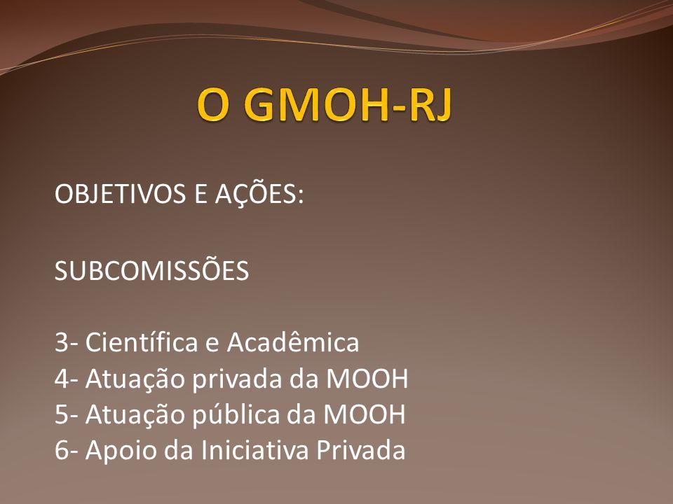 OBJETIVOS E AÇÕES: SUBCOMISSÕES 3- Científica e Acadêmica 4- Atuação privada da MOOH 5- Atuação pública da MOOH 6- Apoio da Iniciativa Privada