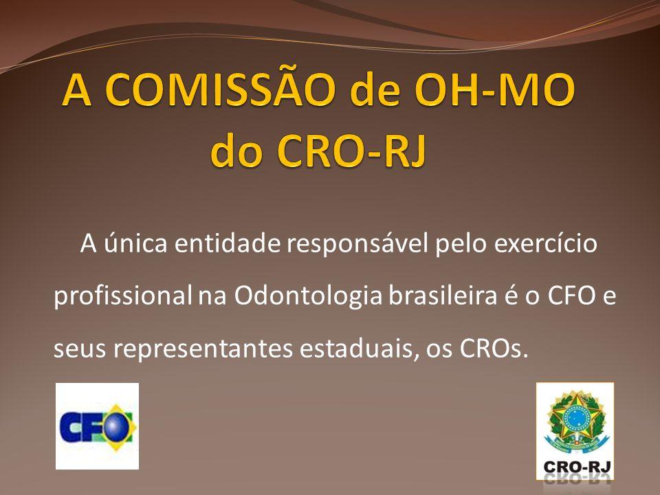 A única entidade responsável pelo exercício profissional na Odontologia brasileira é o CFO e seus representantes estaduais, os CROs.