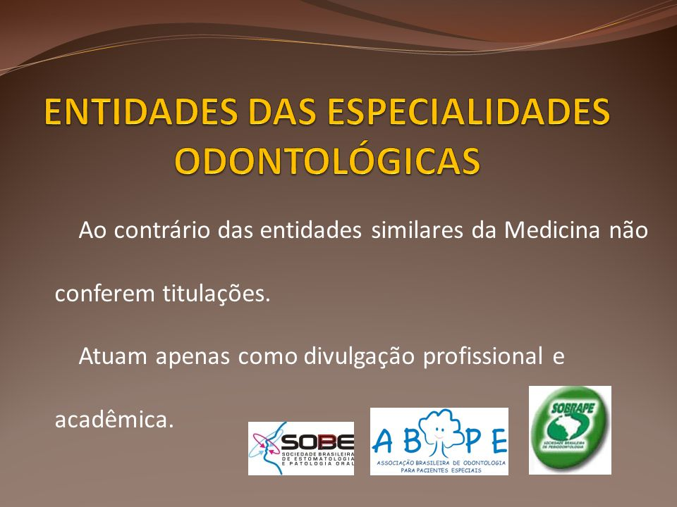 Ao contrário das entidades similares da Medicina não conferem titulações. Atuam apenas como divulgação profissional e acadêmica.