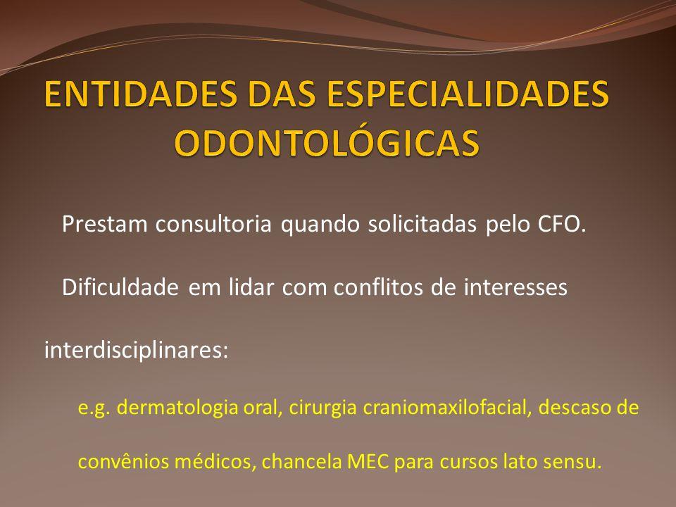 Prestam consultoria quando solicitadas pelo CFO. Dificuldade em lidar com conflitos de interesses interdisciplinares: e.g. dermatologia oral, cirurgia