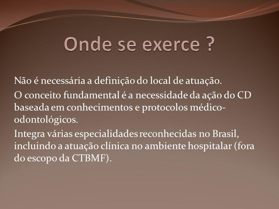 Não é necessária a definição do local de atuação. O conceito fundamental é a necessidade da ação do CD baseada em conhecimentos e protocolos médico- o