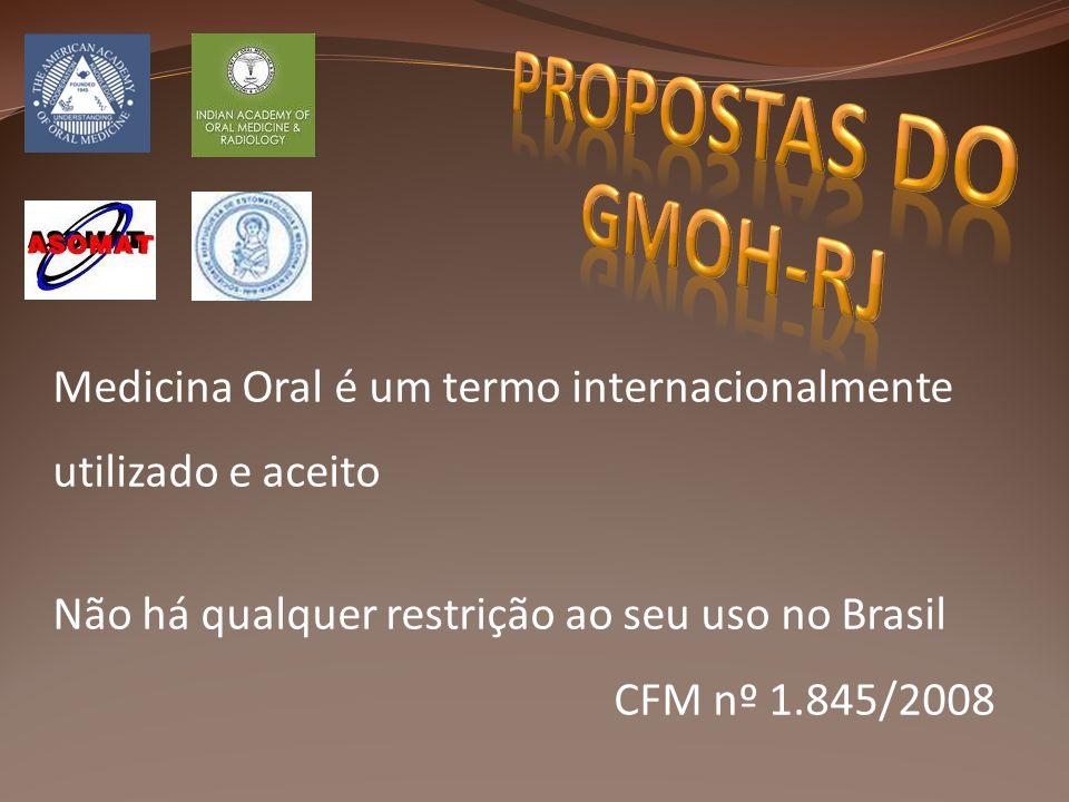 Medicina Oral é um termo internacionalmente utilizado e aceito Não há qualquer restrição ao seu uso no Brasil CFM nº 1.845/2008