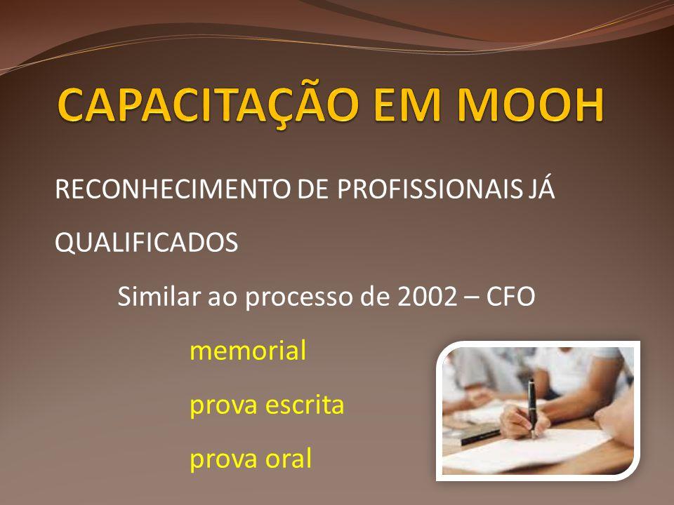 RECONHECIMENTO DE PROFISSIONAIS JÁ QUALIFICADOS Similar ao processo de 2002 – CFO memorial prova escrita prova oral