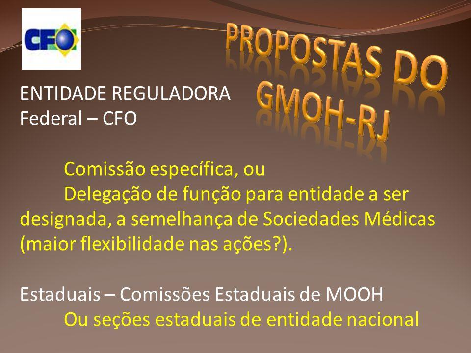 ENTIDADE REGULADORA Federal – CFO Comissão específica, ou Delegação de função para entidade a ser designada, a semelhança de Sociedades Médicas (maior