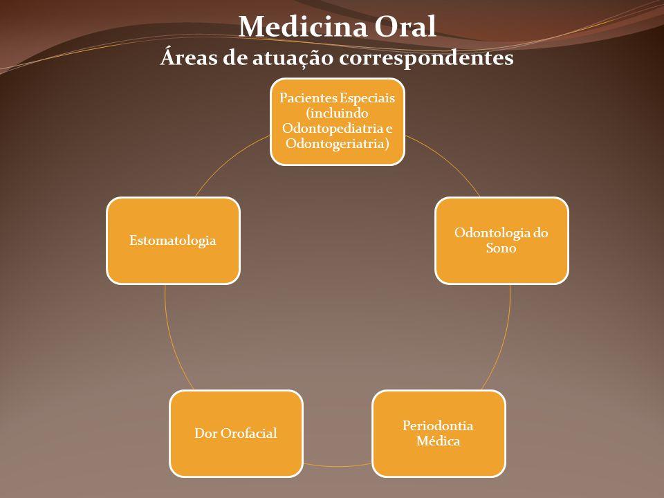 Pacientes Especiais (incluindo Odontopediatria e Odontogeriatria) Odontologia do Sono Periodontia Médica Dor OrofacialEstomatologia Medicina Oral Áreas de atuação correspondentes
