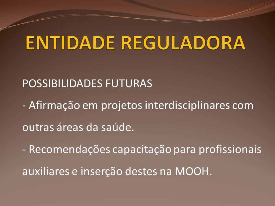 POSSIBILIDADES FUTURAS - Afirmação em projetos interdisciplinares com outras áreas da saúde. - Recomendações capacitação para profissionais auxiliares