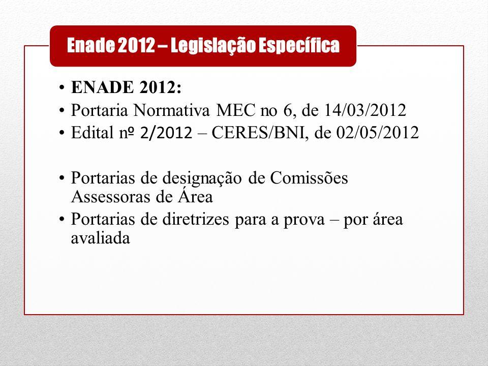 •ENADE 2012: •Portaria Normativa MEC no 6, de 14/03/2012 •Edital n º 2/2012 – CERES/BNI, de 02/05/2012 •Portarias de designação de Comissões Assessora