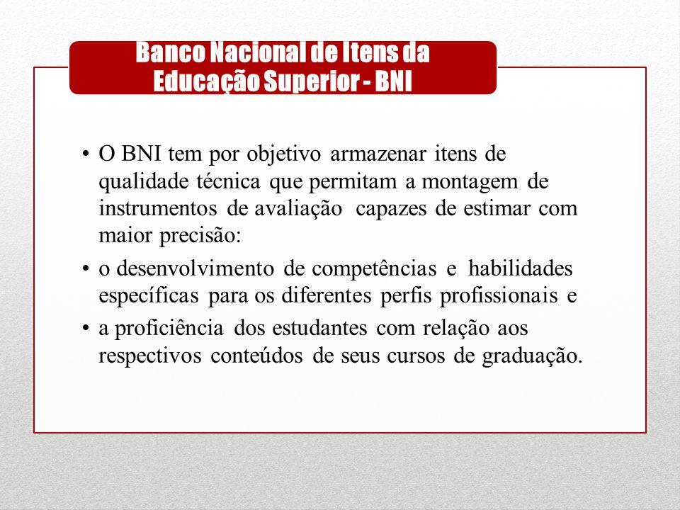 •O BNI tem por objetivo armazenar itens de qualidade técnica que permitam a montagem de instrumentos de avaliação capazes de estimar com maior precisã