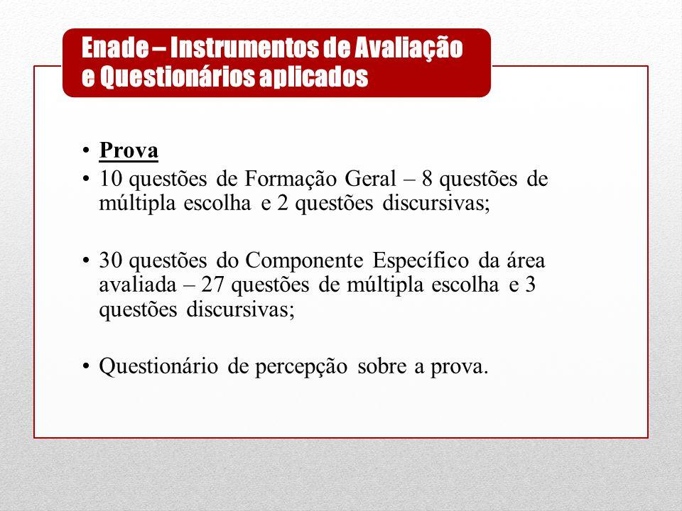 •Prova •10 questões de Formação Geral – 8 questões de múltipla escolha e 2 questões discursivas; •30 questões do Componente Específico da área avaliad