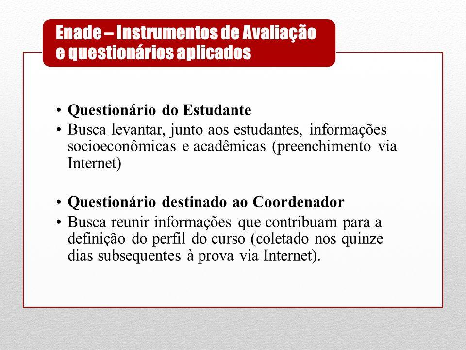 •Questionário do Estudante •Busca levantar, junto aos estudantes, informações socioeconômicas e acadêmicas (preenchimento via Internet) •Questionário