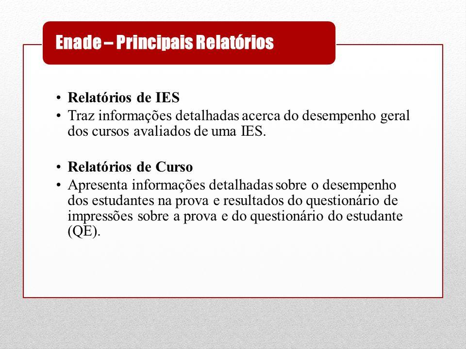 •Relatórios de IES •Traz informações detalhadas acerca do desempenho geral dos cursos avaliados de uma IES. •Relatórios de Curso •Apresenta informaçõe