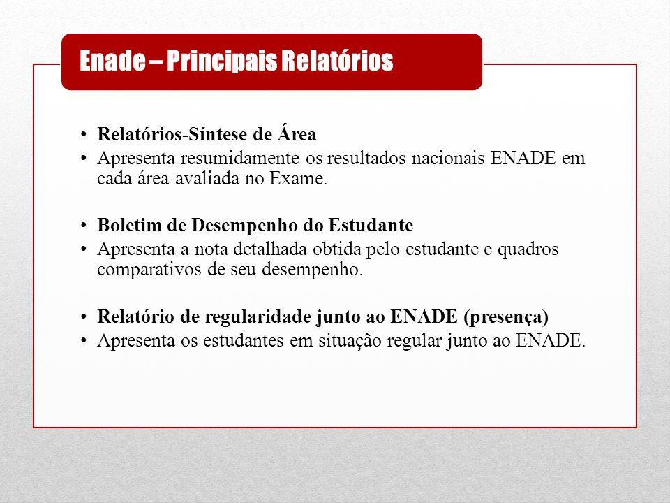•Relatórios-Síntese de Área •Apresenta resumidamente os resultados nacionais ENADE em cada área avaliada no Exame. •Boletim de Desempenho do Estudante