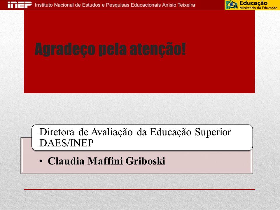 Agradeço pela atenção! •Claudia Maffini Griboski Diretora de Avaliação da Educação Superior DAES/INEP