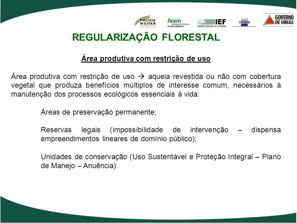 REGULARIZAÇÃO FLORESTAL Área produtiva com restrição de uso Área produtiva com restrição de uso  aquela revestida ou não com cobertura vegetal que pr