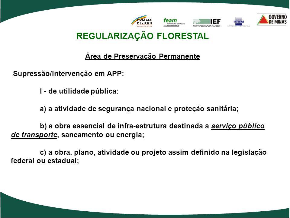 REGULARIZAÇÃO FLORESTAL Área de Preservação Permanente Supressão/Intervenção em APP: I - de utilidade pública: a) a atividade de segurança nacional e