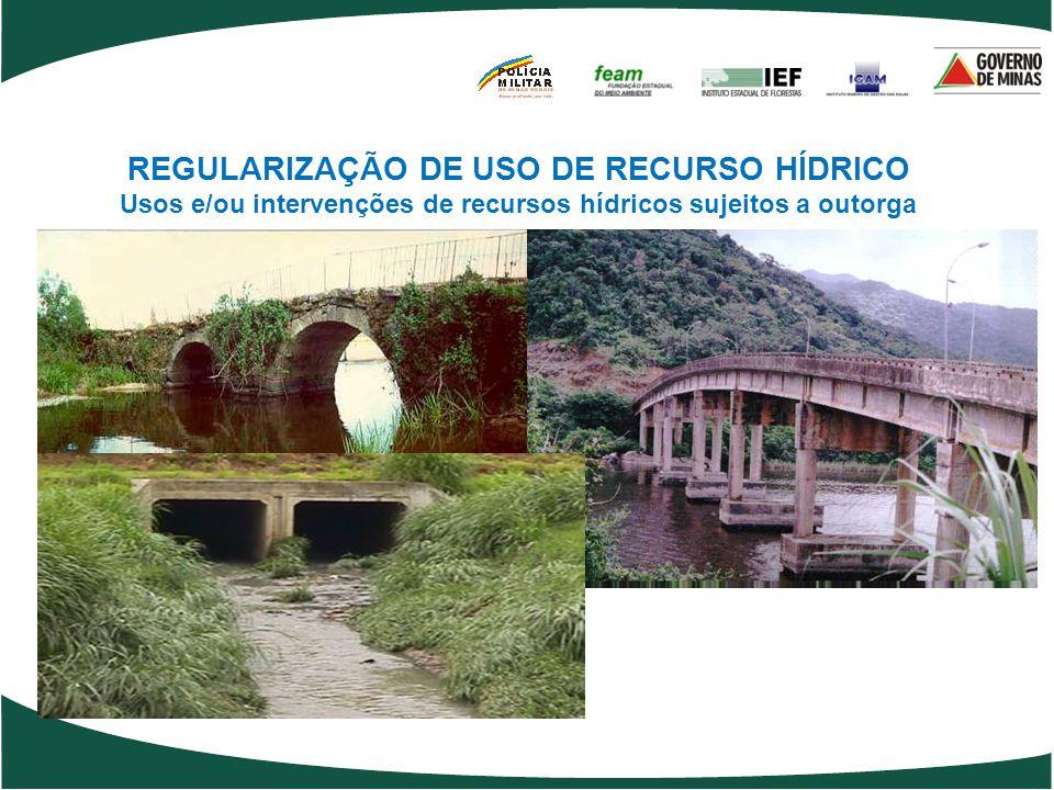 REGULARIZAÇÃO DE USO DE RECURSO HÍDRICO Usos e/ou intervenções de recursos hídricos sujeitos a outorga