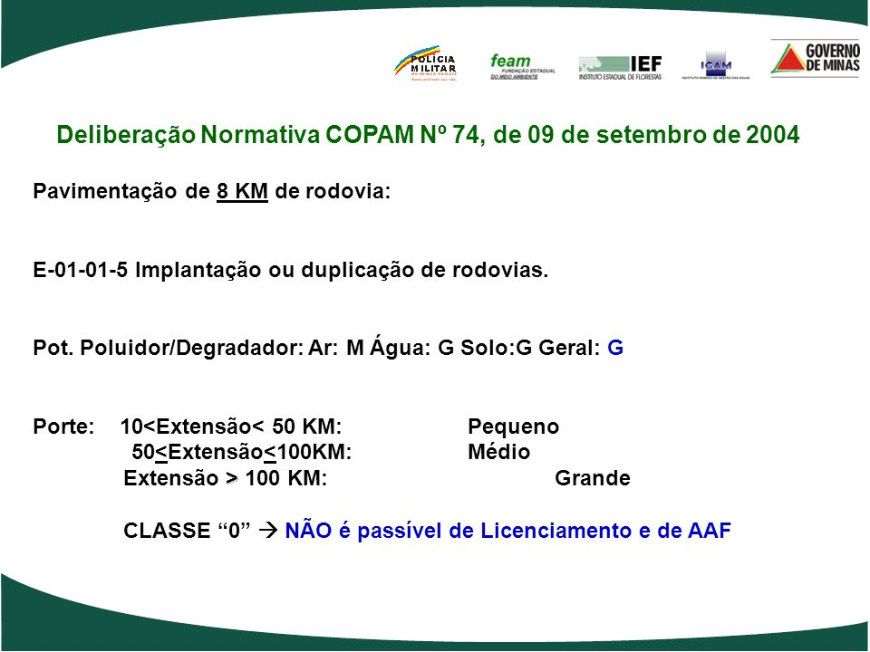 Deliberação Normativa COPAM Nº 74, de 09 de setembro de 2004 Pavimentação de 8 KM de rodovia: E-01-01-5 Implantação ou duplicação de rodovias. Pot. Po