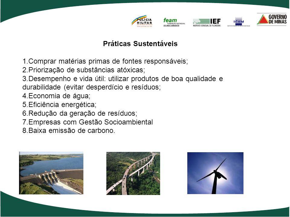 Práticas Sustentáveis 1.Comprar matérias primas de fontes responsáveis; 2.Priorização de substâncias atóxicas; 3.Desempenho e vida útil: utilizar prod
