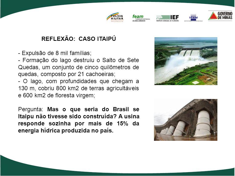 REFLEXÃO: CASO ITAIPÚ - Expulsão de 8 mil famílias; - Formação do lago destruiu o Salto de Sete Quedas, um conjunto de cinco quilômetros de quedas, co