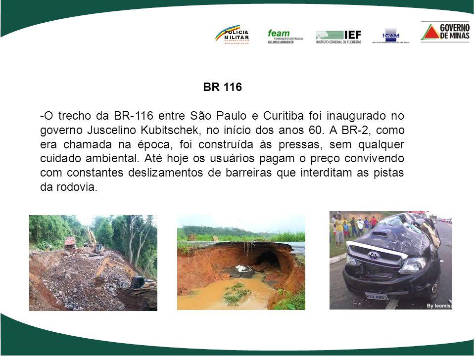 BR 116 -O trecho da BR-116 entre São Paulo e Curitiba foi inaugurado no governo Juscelino Kubitschek, no início dos anos 60. A BR-2, como era chamada