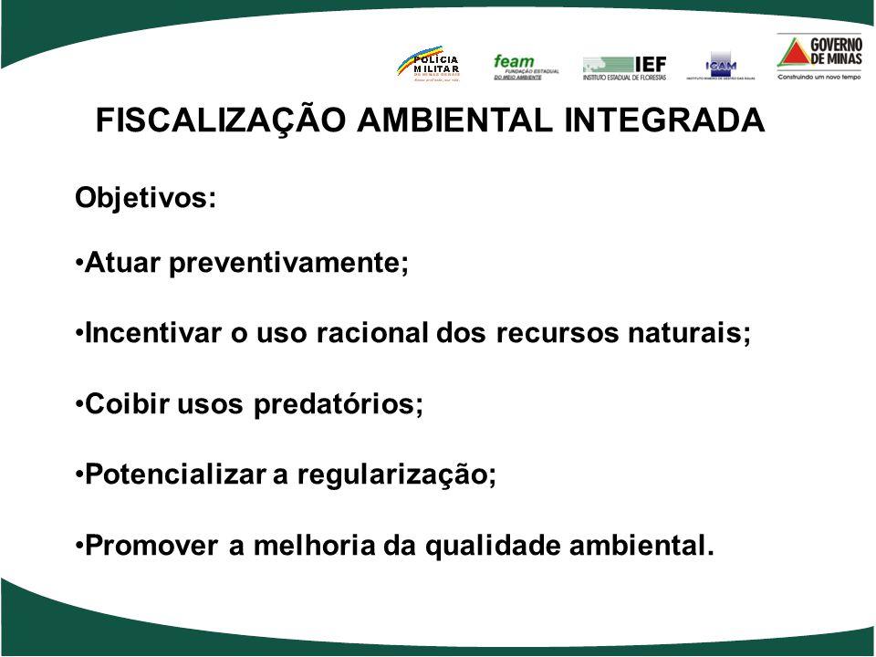 FISCALIZAÇÃO AMBIENTAL INTEGRADA Objetivos: •Atuar preventivamente; •Incentivar o uso racional dos recursos naturais; •Coibir usos predatórios; •Poten