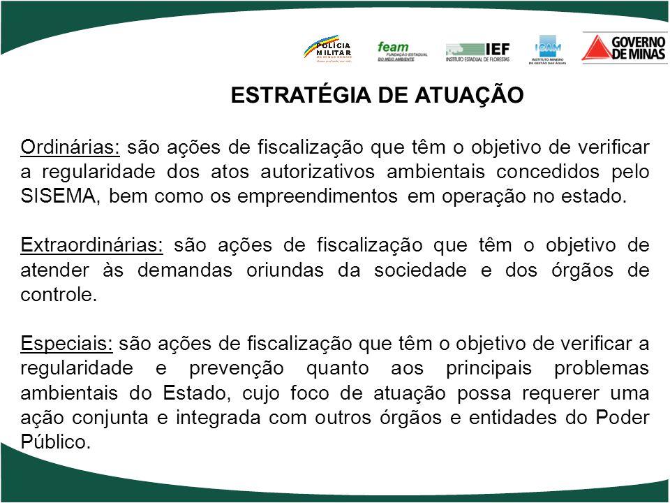 Ordinárias: são ações de fiscalização que têm o objetivo de verificar a regularidade dos atos autorizativos ambientais concedidos pelo SISEMA, bem com